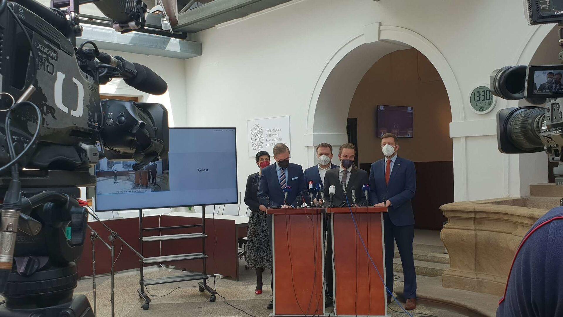 Společná tisková konference předsedů Pirátů, ODS, KDU-ČSL, TOP 09 a STAN - Sputnik Česká republika, 1920, 13.07.2021