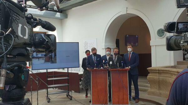 Společná tisková konference předsedů Pirátů, ODS, KDU-ČSL, TOP 09 a STAN - Sputnik Česká republika