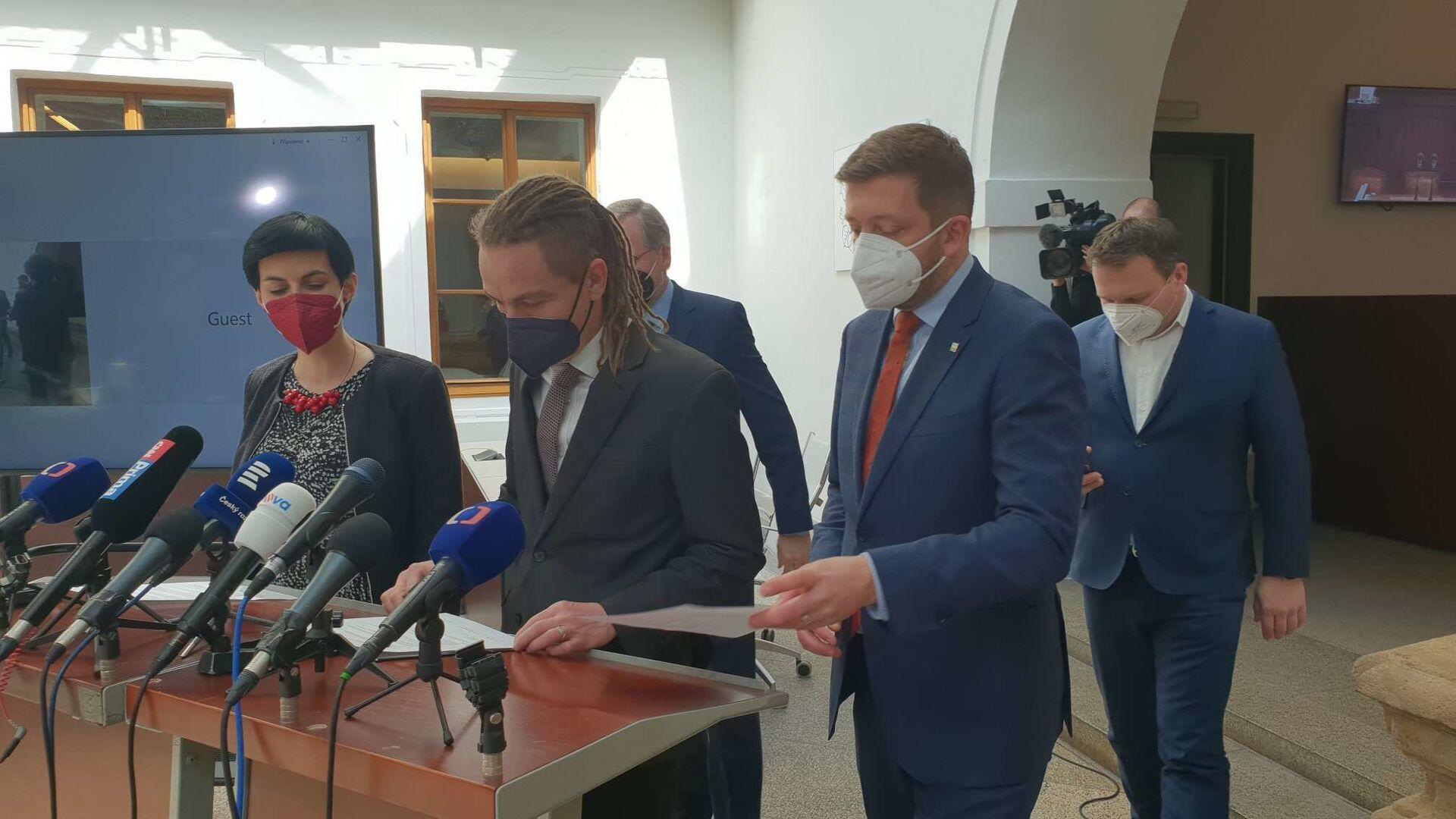 Společná tisková konference předsedů Pirátů, ODS, KDU-ČSL, TOP 09 a STAN - Sputnik Česká republika, 1920, 01.04.2021