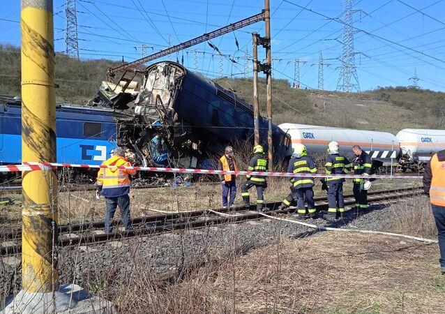 Srážka dvou nákladních vlaků u obce Světec, okres Teplice.