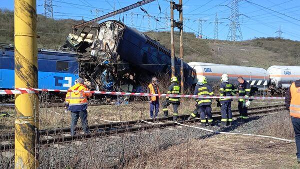 Srážka dvou nákladních vlaků u obce Světec, okres Teplice. - Sputnik Česká republika