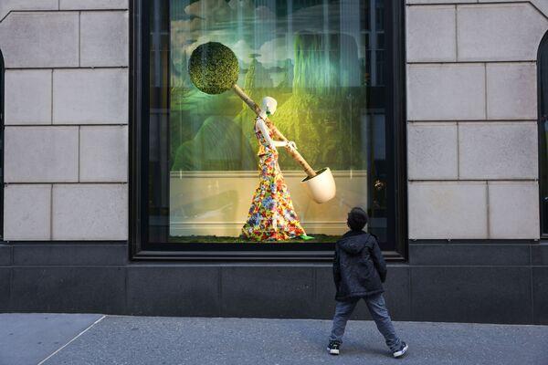 Chlapec pozoruje výlohu hypermarketu Bloomingdales v New Yorku. - Sputnik Česká republika