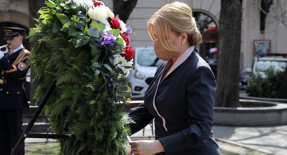 Slovenská prezidentka Zuzana Čaputová uctila památku rudoarmějců,  kteří padli při osvobozování Bratislavy