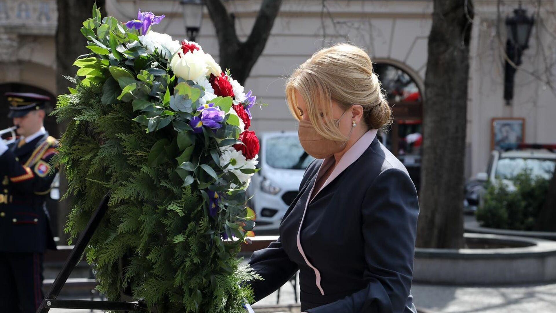 Slovenská prezidentka Zuzana Čaputová uctila památku rudoarmějců,  kteří padli při osvobozování Bratislavy - Sputnik Česká republika, 1920, 13.05.2021