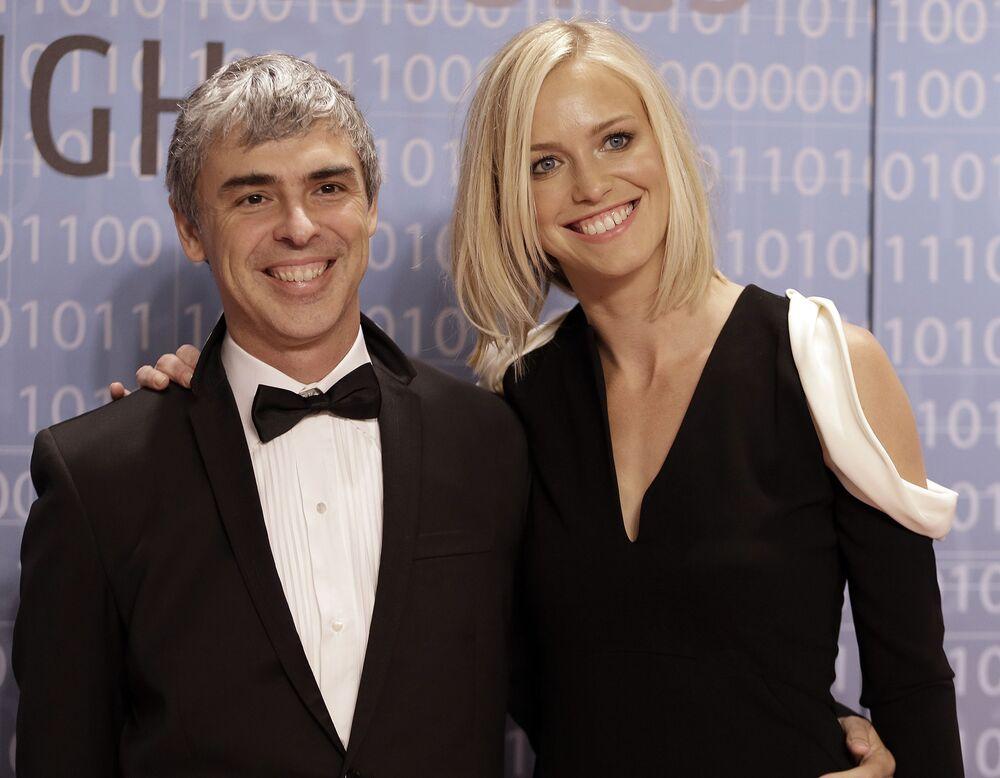 Spoluzakladatel společnosti Google Larry Page se svou manželkou, jmění - 91,5 mld. dolarů