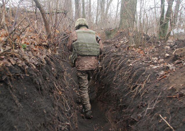 Ukrajinský voják na Donbase