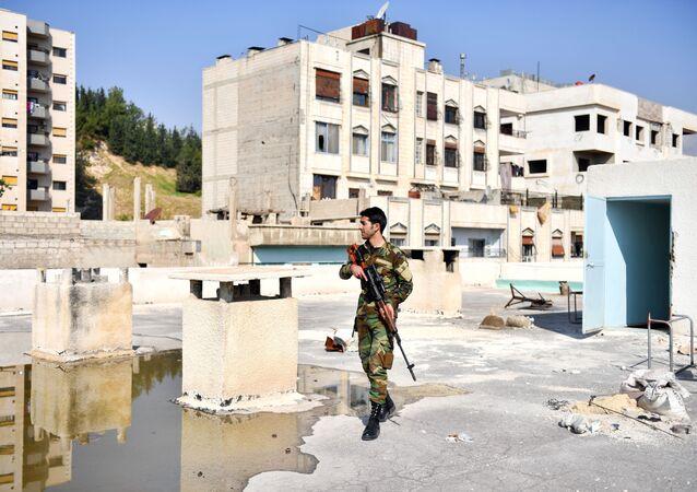 Voják v ulici Damašku. Ilustrační foto