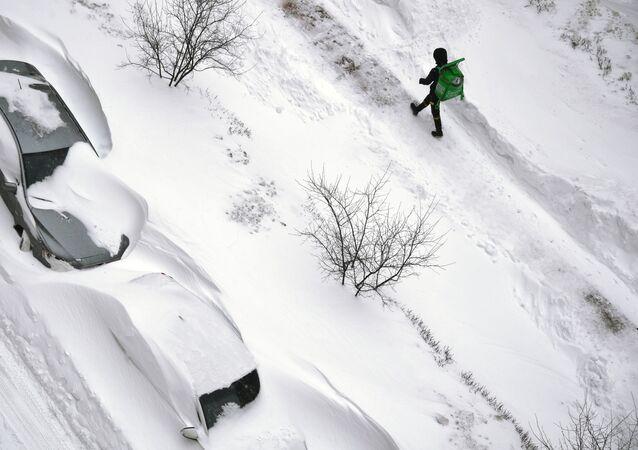 Silné sněžení. Ilustrační foto