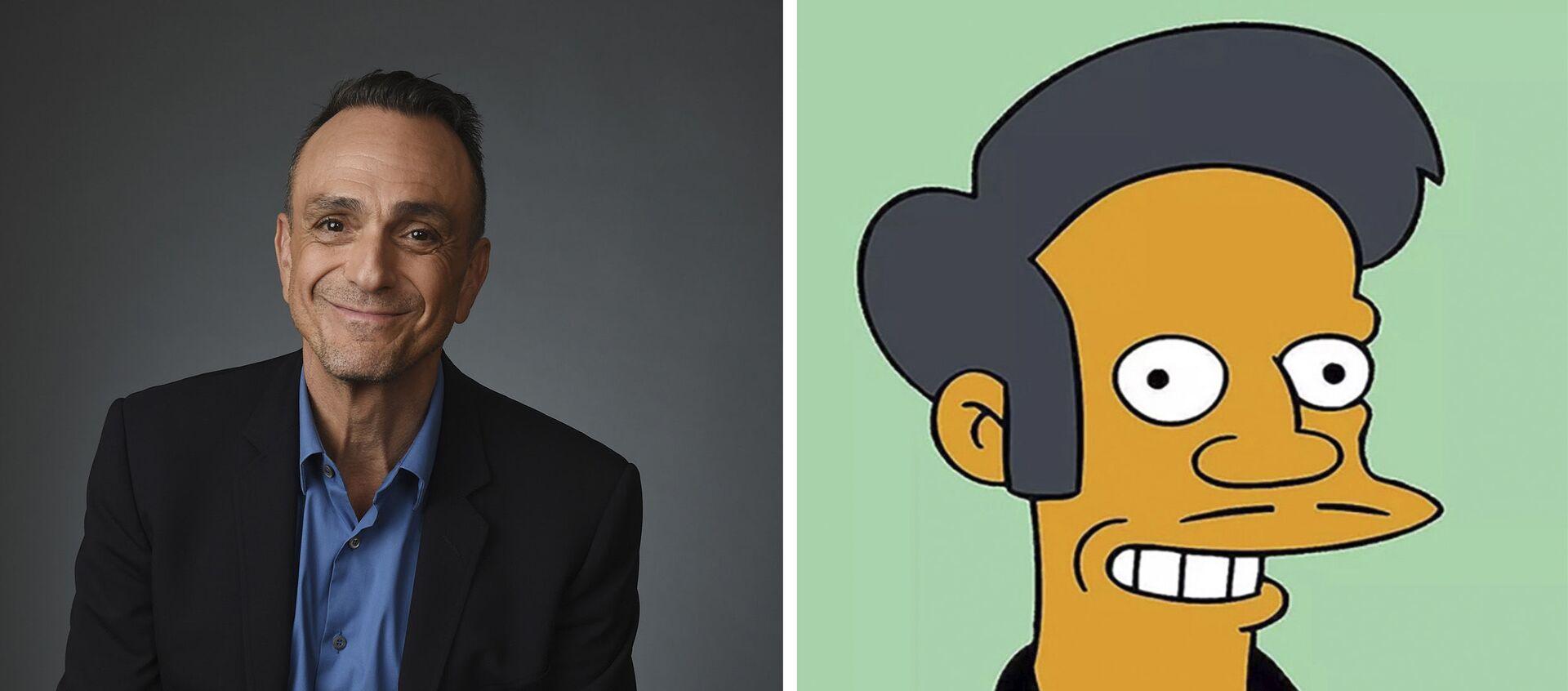Herec Hank Azaria a postava ze seriálu Simpsonovi Apu Nahasapímapetilon - Sputnik Česká republika, 1920, 14.04.2021