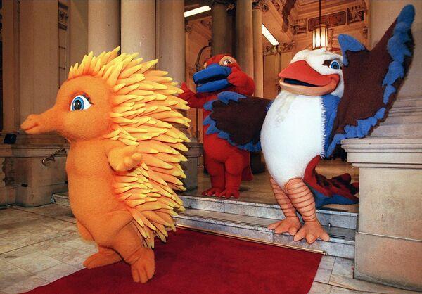 Maskoty Olympijských her v Sydney v roce 2000 během jejich prvního veřejného vystoupení.  - Sputnik Česká republika
