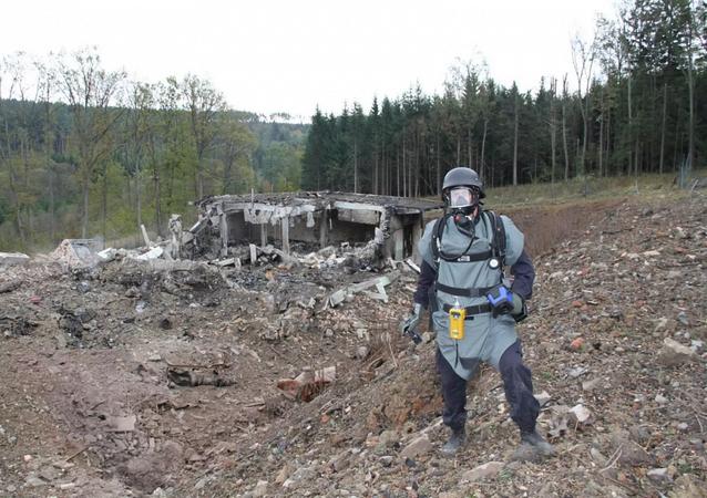 Následky výbuchu ve Vrběticích