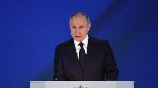 Ruský prezident Vladimir Putin vystupuje s posláním Federálnímu shromáždění (21. 04. 2021) - Sputnik Česká republika