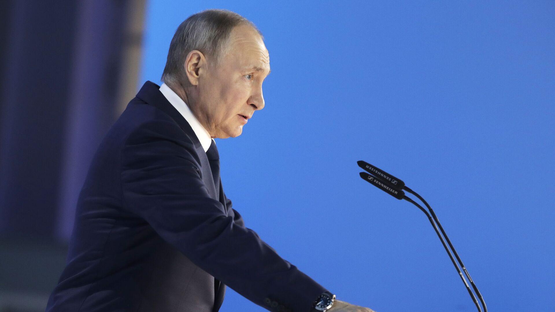 Президент РФ Владимир Путин выступает с ежегодным посланием Федеральному Собранию - Sputnik Česká republika, 1920, 22.04.2021