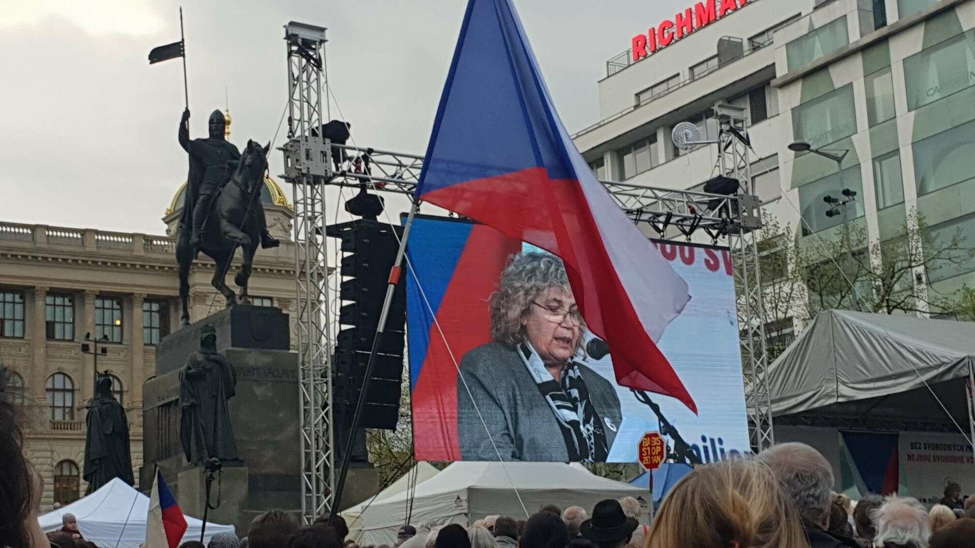 Eugenie Číhalová na sletu Chvilkařů vyslovuje obavu, že Moskvané zaplaví Prahu - Sputnik Česká republika, 1920, 29.04.2021