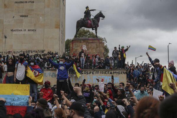 Účastníci protivládních protestů v Bogotě. - Sputnik Česká republika