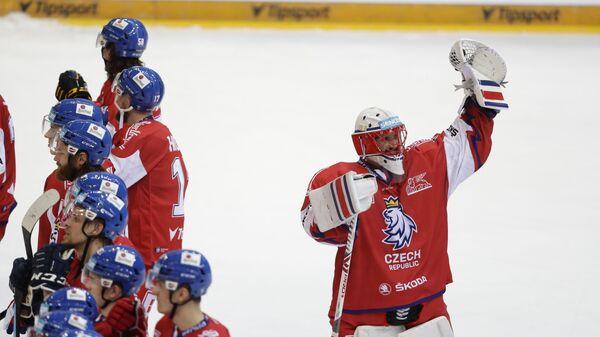 Чешский вратарь Симон Грубец радуется победе над сборной России в заключительном матче Евротура - Sputnik Česká republika
