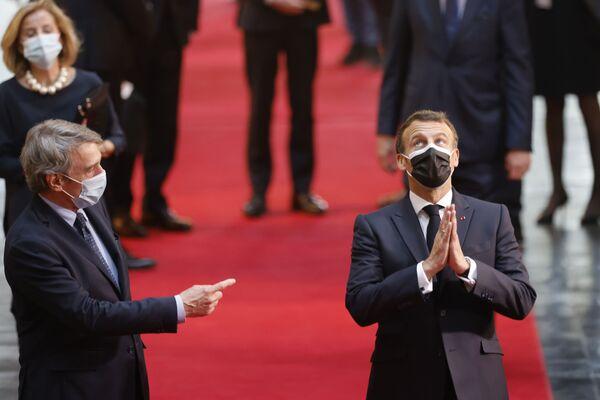 Francouzský prezident Emmanuel Macron a předseda Evropského parlamentu David Sassoli před zahájením konference o budoucnosti Evropy u příležitosti Dne Evropy. - Sputnik Česká republika