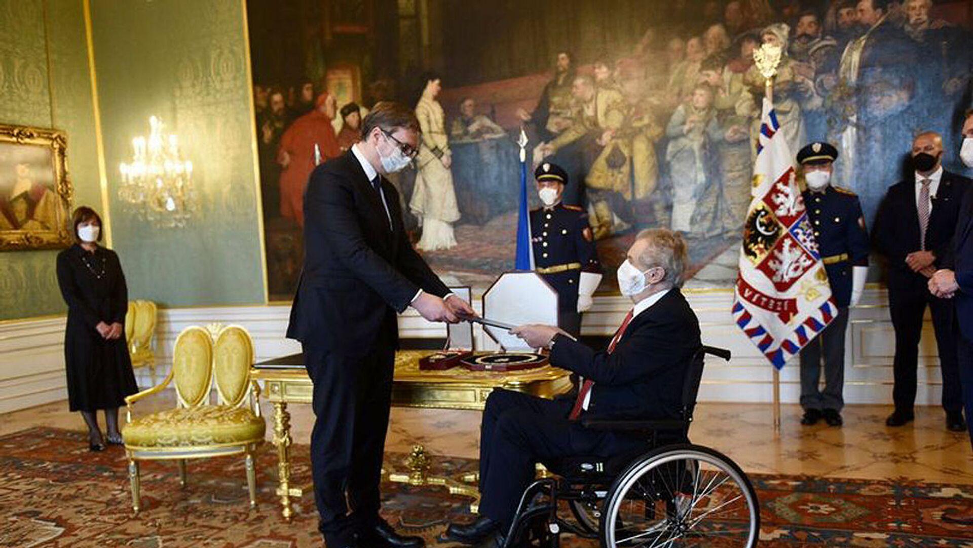 Český prezident Miloš Zeman a srbský prezident Aleksandar Vučić - Sputnik Česká republika, 1920, 18.05.2021
