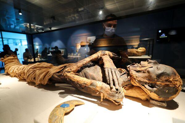 Návštěvník nového muzea v Káhiře si prohlíží mumii. - Sputnik Česká republika
