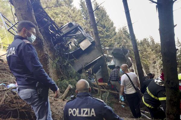 Místo havárie lanovky na severu Itálie - Sputnik Česká republika