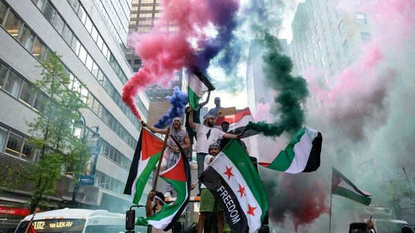 Демонстранты держат палестинский и сирийский флаги в поддержку Палестины в центре Манхэттена - Sputnik Česká republika