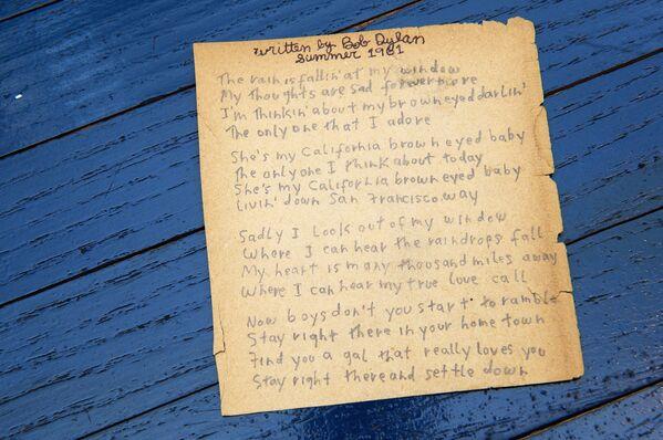 Původní ručně psané texty Boba Dylana, New York - Sputnik Česká republika