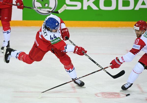 Matěj Stránský (Česká republika) a Nick Bailen (Bělorusko) během zápasu mezi národními týmy České republiky a Běloruska. - Sputnik Česká republika
