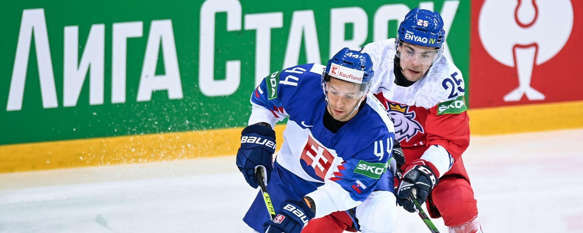 Mislav Rosandič a Radan Lenz v zápase mistrovství světa IIHF v roce 2021 mezi národními týmy Slovenska a České republiky - Sputnik Česká republika, 1920, 01.06.2021