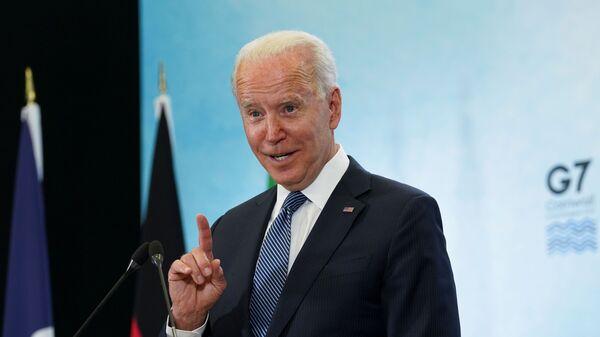 Президент США Джо Байден на пресс-конференции после саммита G7 в Корнуолле - Sputnik Česká republika