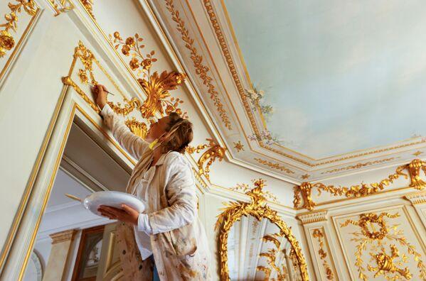 Malíř během dokončovacích úprav ozdobení interiéru vily La Grange. - Sputnik Česká republika