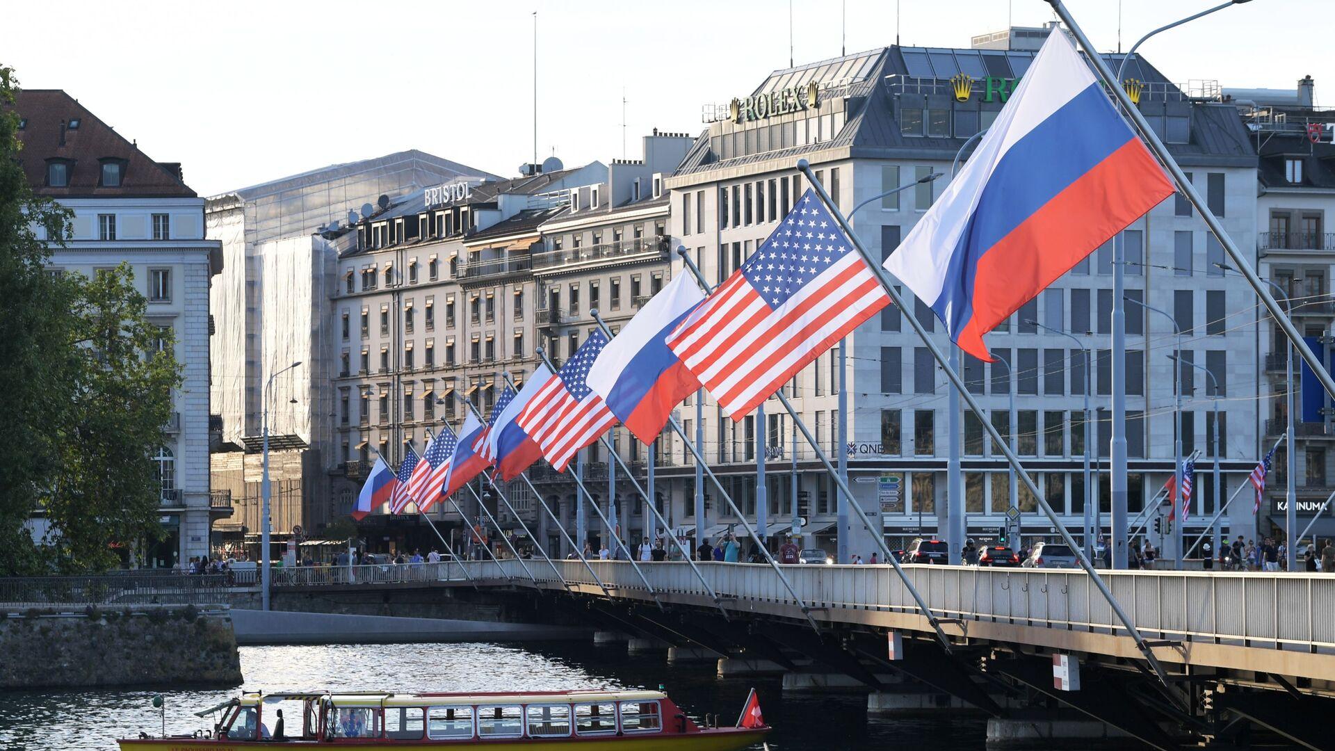 Vlajky Ruska a USA v Ženevě - Sputnik Česká republika, 1920, 17.06.2021