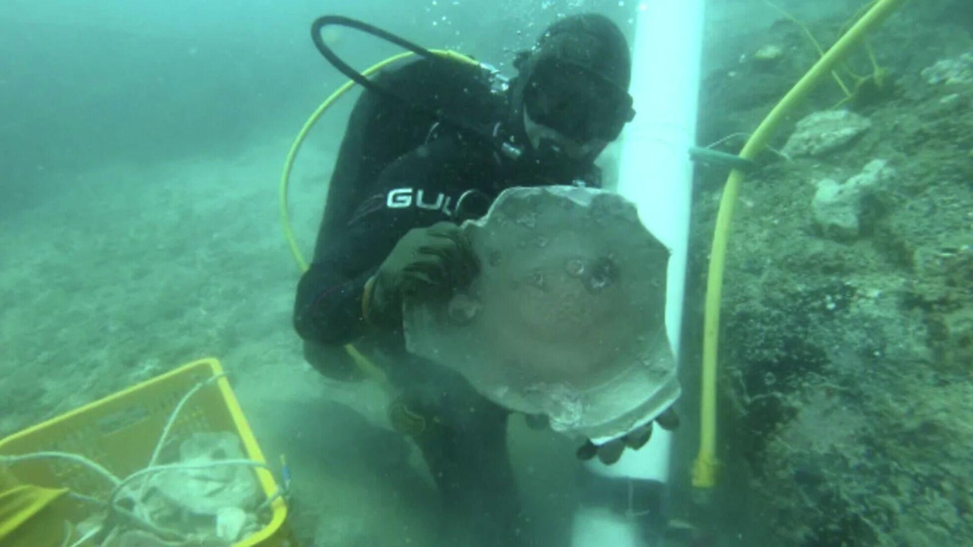 Potápěč zkoumá vrak lodě  u pobřeží Singapuru - Sputnik Česká republika, 1920, 20.06.2021