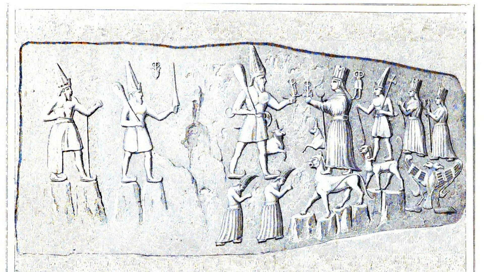 Kamenné sošky v chettském chrámu v Yazilikaya  - Sputnik Česká republika, 1920, 21.06.2021