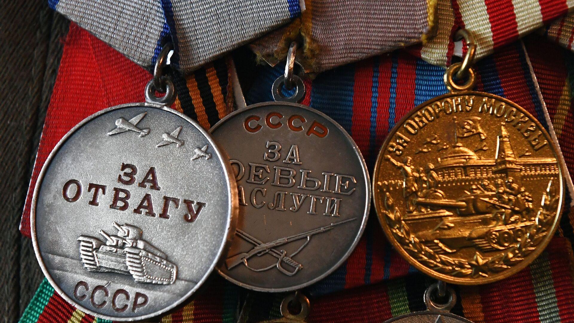 Medaile 100letého veterána Velké vlastenecké války, účastníka bitvy o Moskvu Ivana Špagina - Sputnik Česká republika, 1920, 21.06.2021