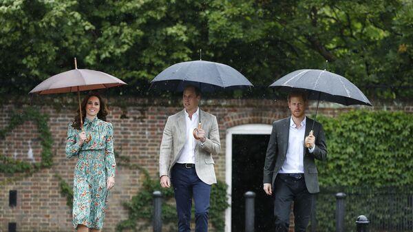 Британский принц Уильям, герцогиня Кембриджская и принц Гарри прибыли на мероприятие в мемориальном саду Кенсингтонского дворца в Лондоне - Sputnik Česká republika