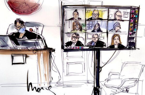 Náčrtek jednací síně během soudního jednání ve věci opatrovnictví nad Britney Spearsovou v Los Angeles - Sputnik Česká republika