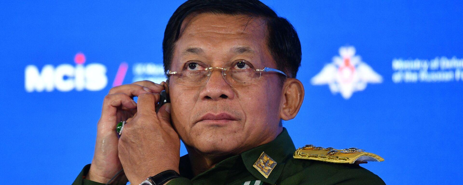 Vrchní velitel myanmarských ozbrojených sil, armádní generál Min Aun Hlain - Sputnik Česká republika, 1920, 28.06.2021