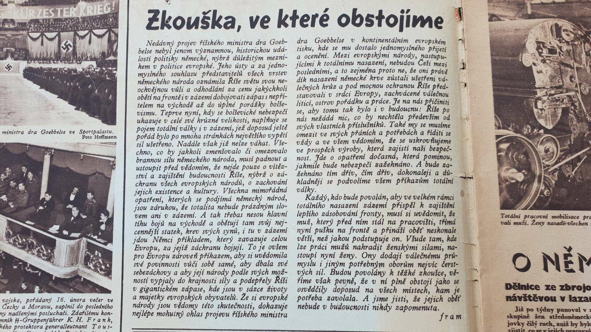 Protektorátní tisk potvrzuje Hitlerův citát z Vachkovy knihy. Čtenáři mĕli vĕřit v ochranu Říše. (Magazín Hvĕzda, č. 10, str. 2, 5.3.1943)  - Sputnik Česká republika, 1920, 28.06.2021
