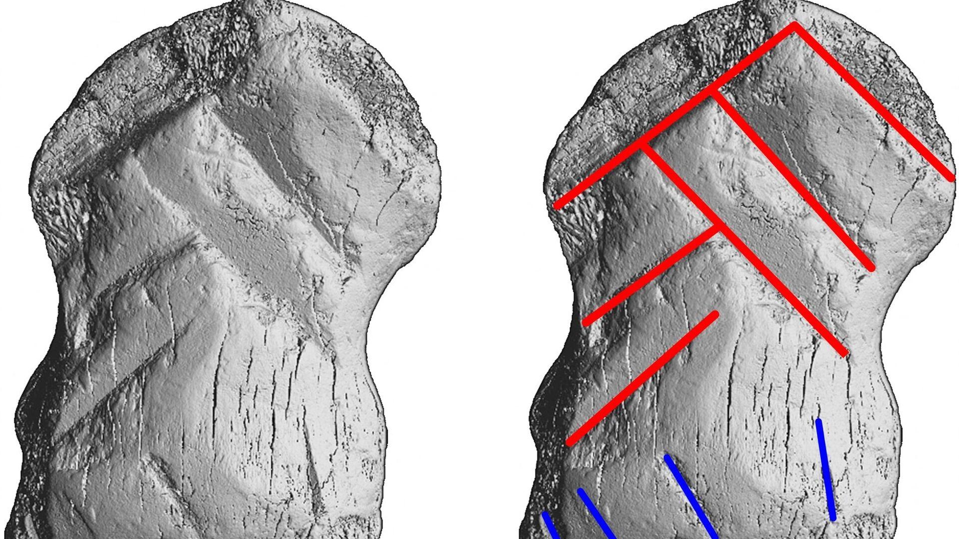 Pazneht jelena ozdobený řezbou, který němečtí vědci nalezli v jeskyni Jednorožce - Sputnik Česká republika, 1920, 08.07.2021