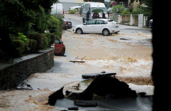 Zaplavené ulice po silných deštích v německém Hagenu, 14. července 2021. - Sputnik Česká republika