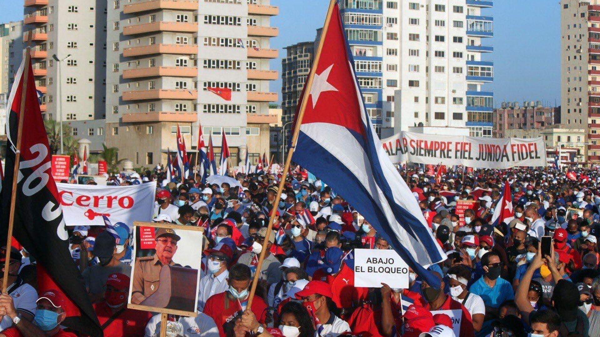 Lidé demonstrují na podporu vlády v Havaně - Sputnik Česká republika, 1920, 18.07.2021