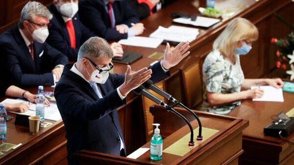 Český premiér Andrej Babiš na zasedání parlamentu - Sputnik Česká republika