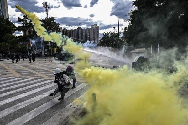 Protivládní protesty ve městě Medellín, Kolumbie. - Sputnik Česká republika