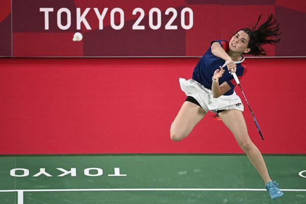 Daniela Macias z Peru během badmintonového zápasu na Letních olympijských hrách v Tokiu - Sputnik Česká republika