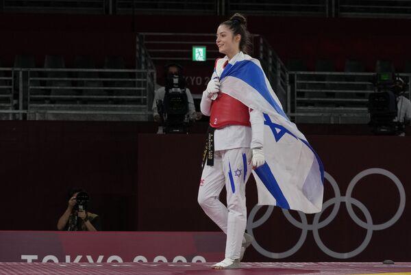 Avishag Semberg z Izraele po zápase taekwonda na Letních olympijských hrách v Tokiu - Sputnik Česká republika