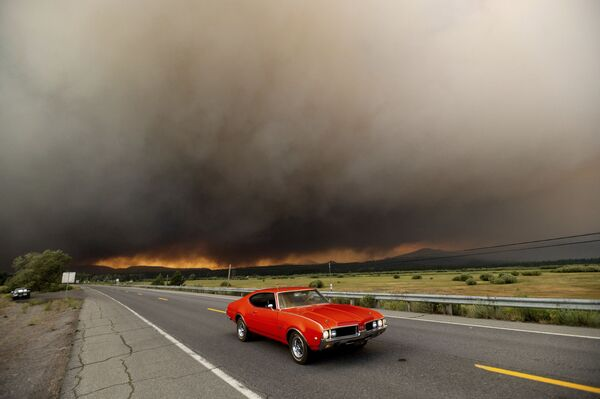 Автомобиль выезжает из Честера, где бушуют лесные пожары, штат Калифорния, США - Sputnik Česká republika