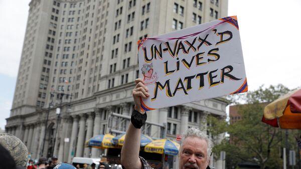 Protest proti povinnému očkování v New Yorku - Sputnik Česká republika