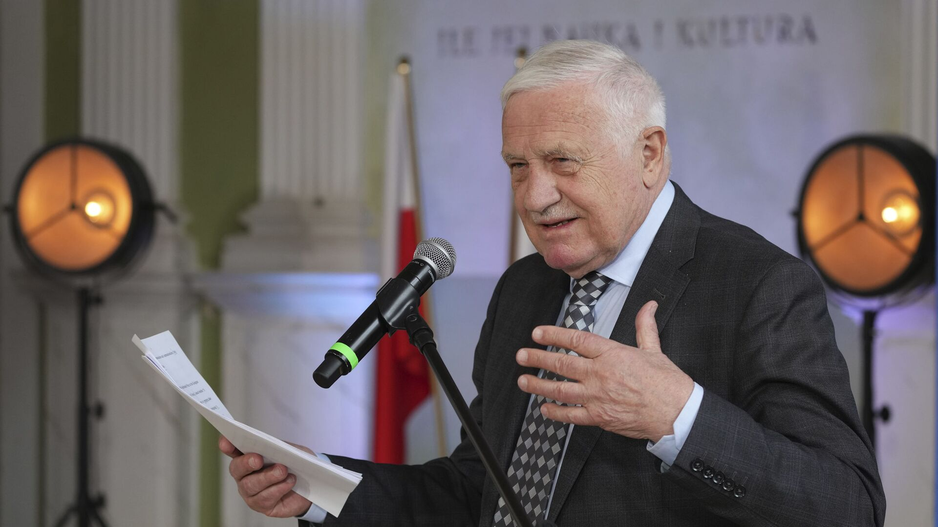 Bývalý český prezident Václav Klaus vystupuje na konferenci ve Varšavě - Sputnik Česká republika, 1920, 11.08.2021