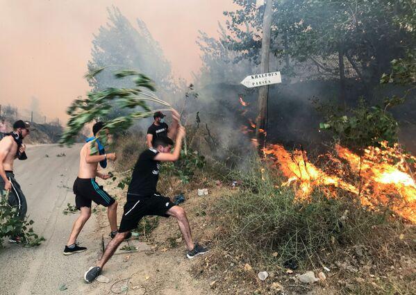 Lidé se snaží uhasit požár v hornaté alžírské provincii Tizi Ouzou, 10. srpna 2021. - Sputnik Česká republika