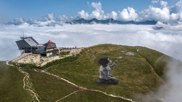 Гигантская фреска в стиле ленд-арт французского художника Гийома Легро на вершине горы Ле Молезон в швейцарских Приальпах - Sputnik Česká republika